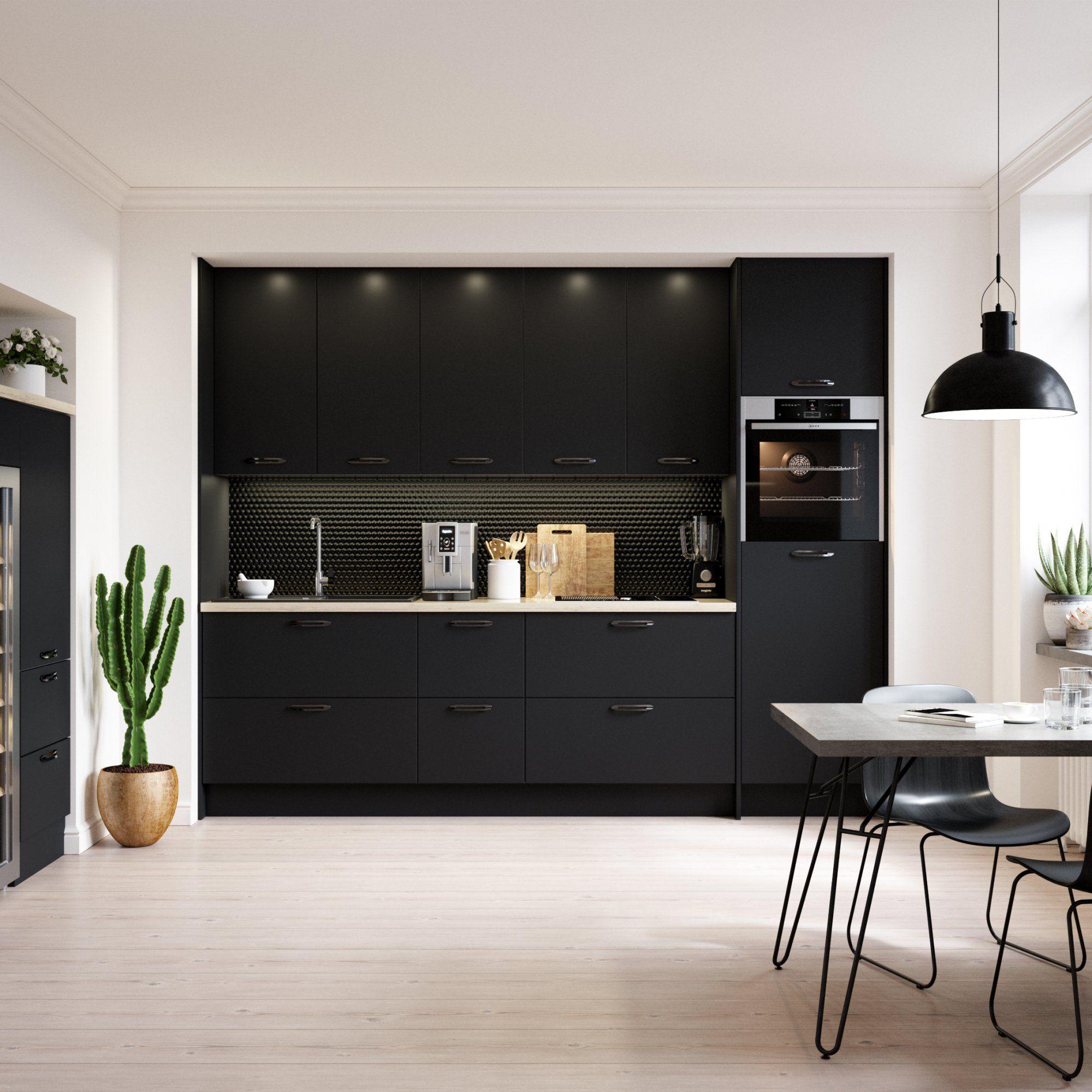 cuisine encastrée noire tendance avec cactus et coin snack avec