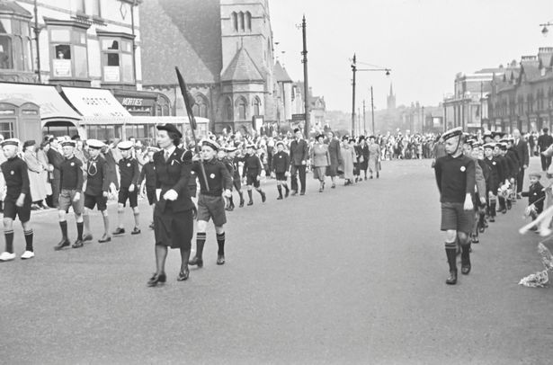 Whit Walks in Cheetham Hill in 1951