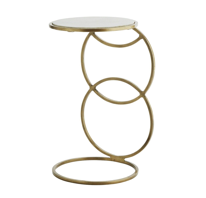 Madam Stoltz Stolik Pomocnik Dostawka Mosiadz Marmur Srednica 31 Cm H018wm Console Table Mirrored Furniture Wooden Console Table