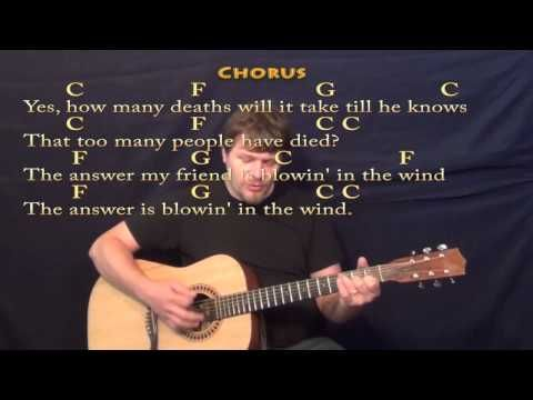 Blowin' In The Wind - Strum Guitar Cover Lesson in C with