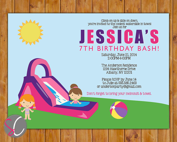 Waterslide Birthday Party Invite Girls Pink Purple Pool Party