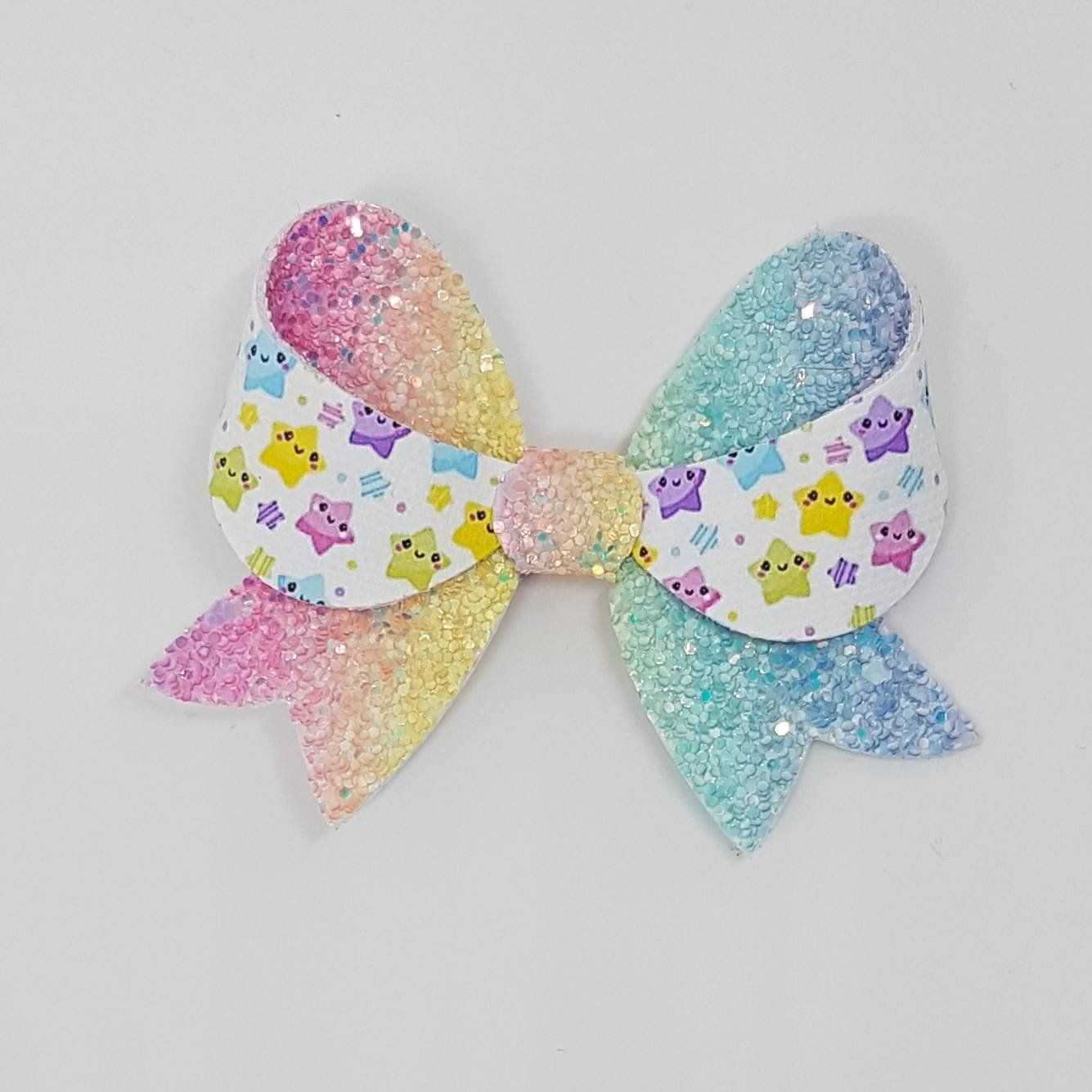 """Rainbow embellished Pink Fabric Glitter Hair Bow Clip 3.5/"""""""