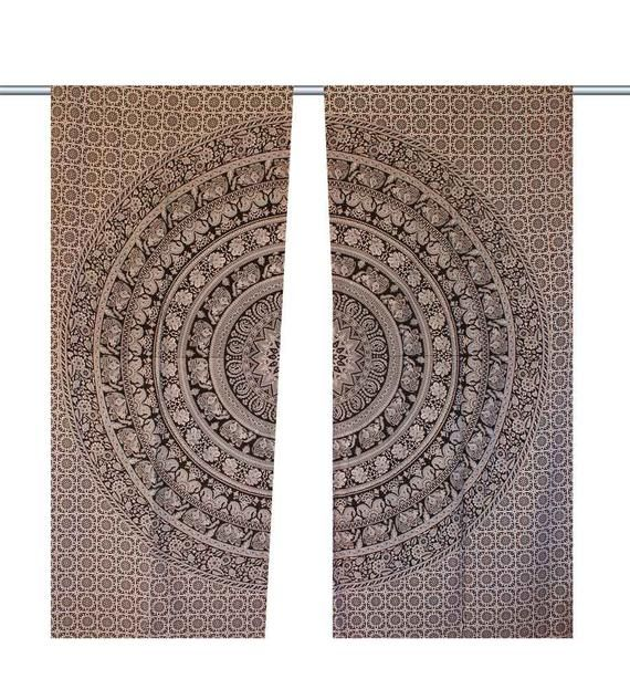 Black and white mandala curtain set Indian Tapestry Window Hanging Cotton Mandala 2 Panels Window Dr