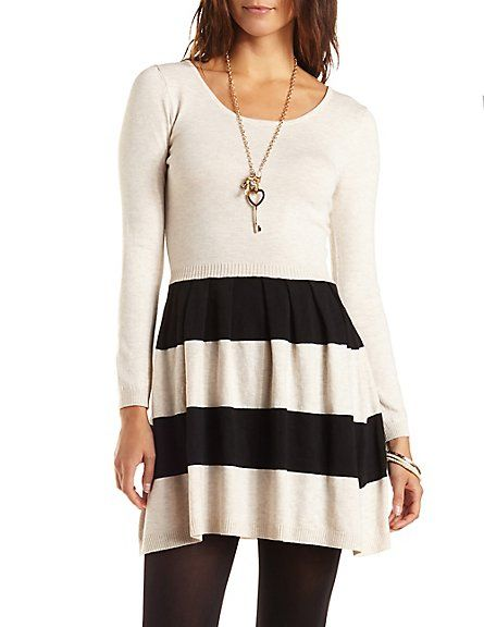 Striped Sweater Knit Skater Dress.... love this!