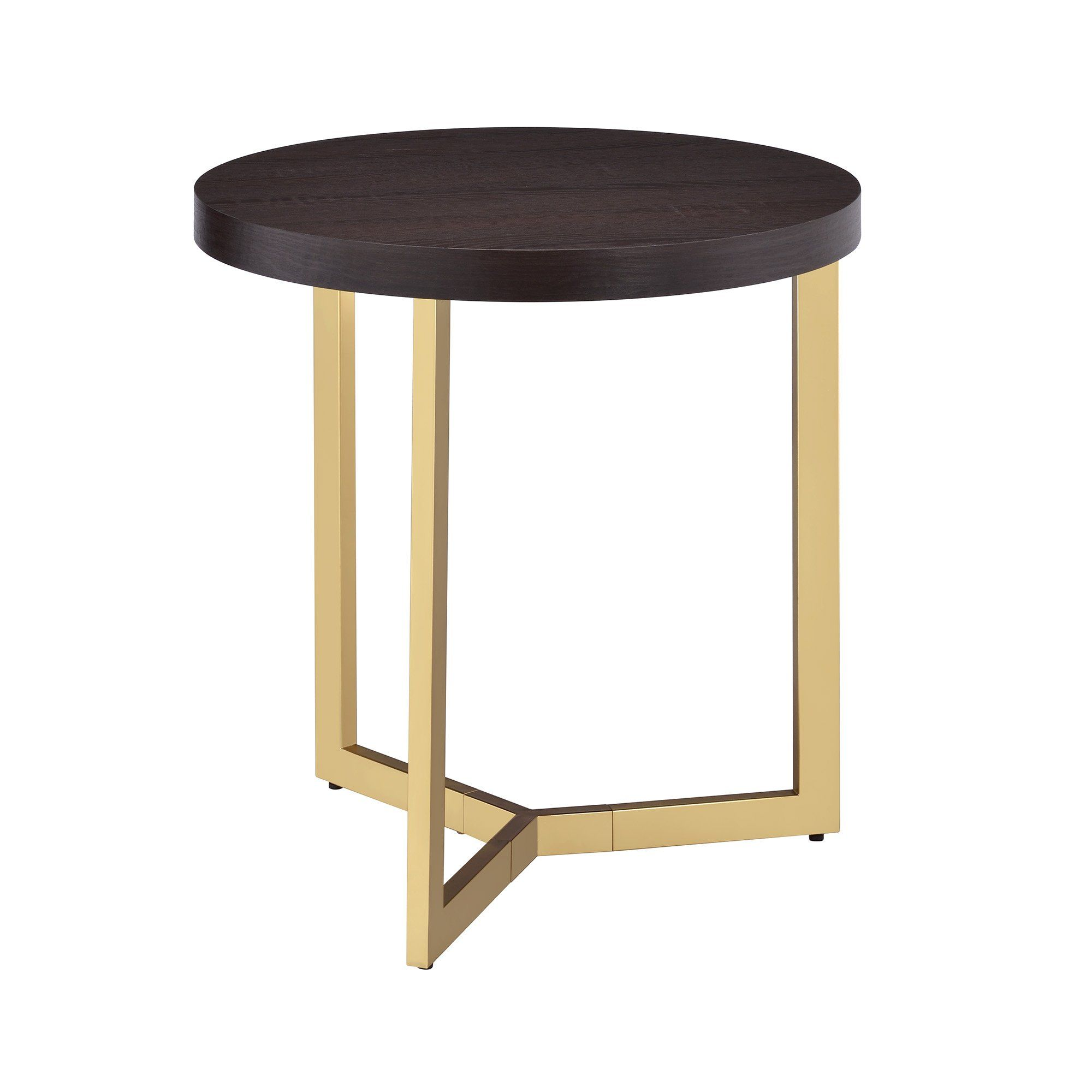 Contemporary Espresso And Brass End Table Harper In 2020 End