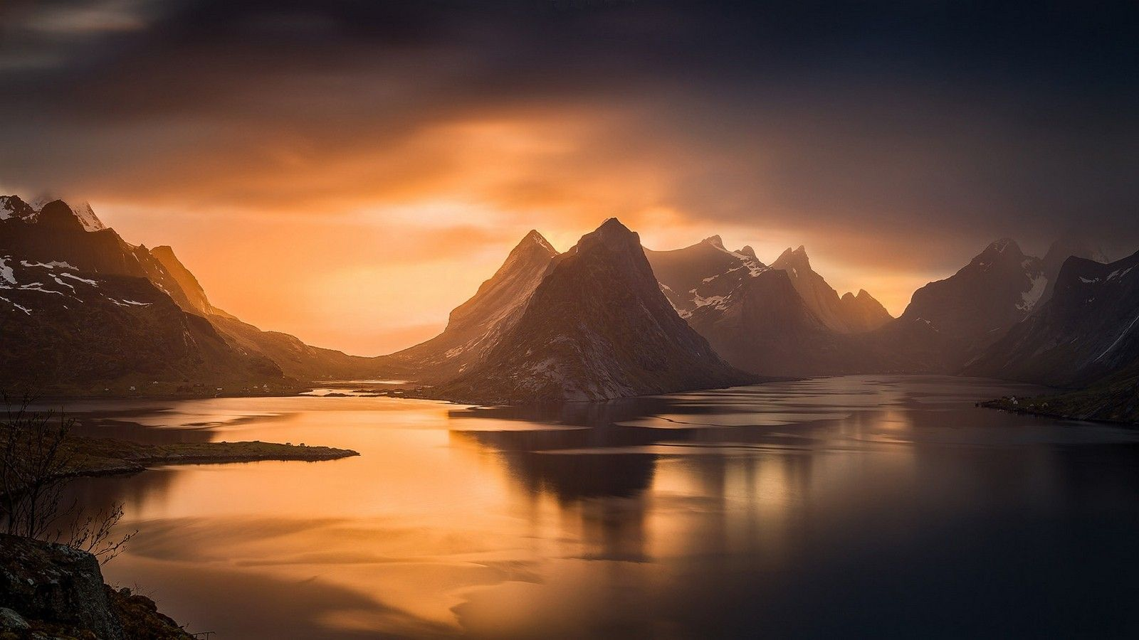 General 1600x900 Nature Landscape Fjord Sunset Mountain