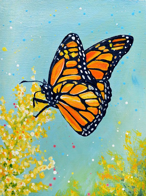 Monarch Butterfly Original Acrylic Painting - by Rachelle ...