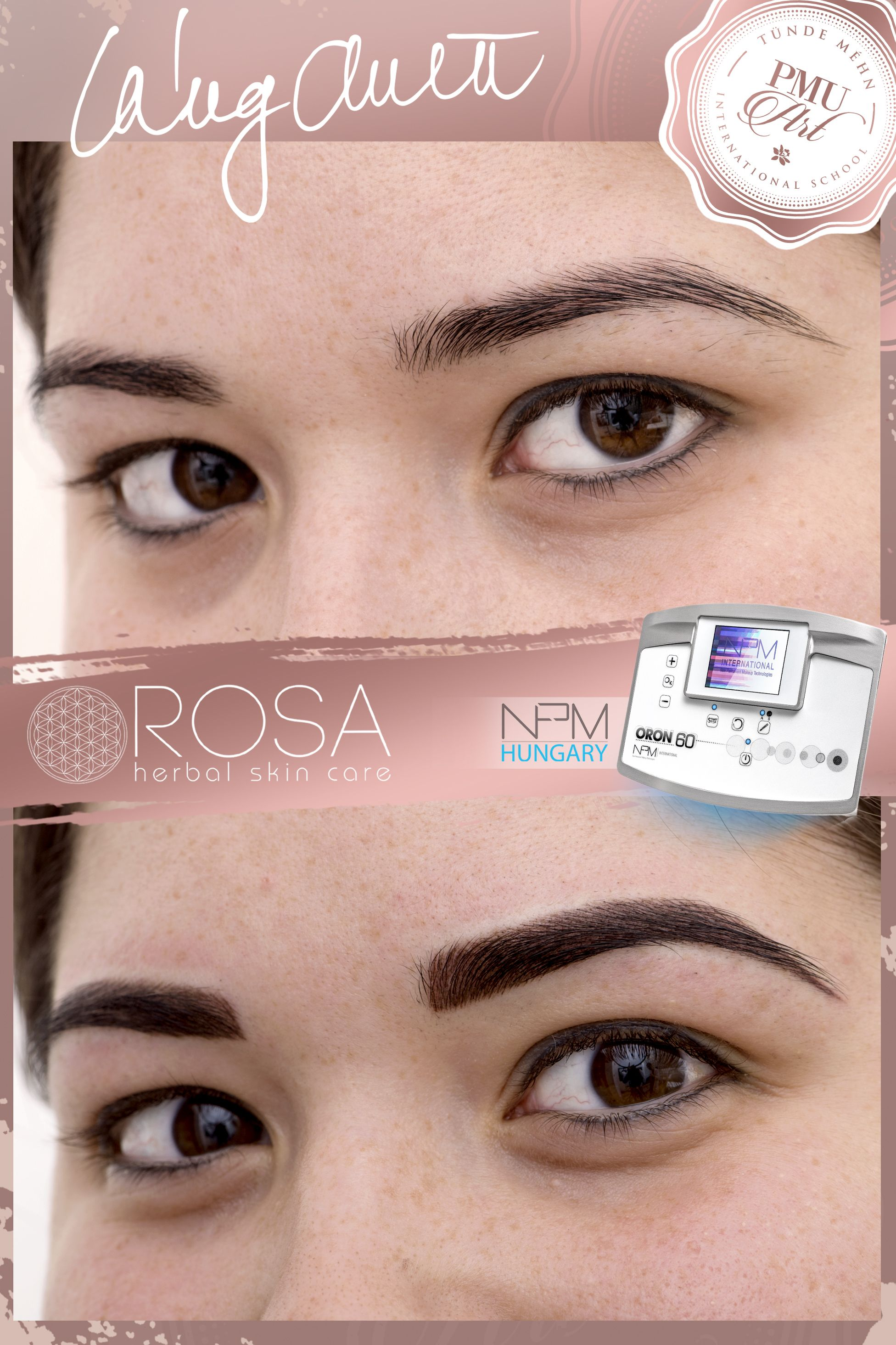 Combined eyebrow tattoo (hairstroke + shaded) (With images