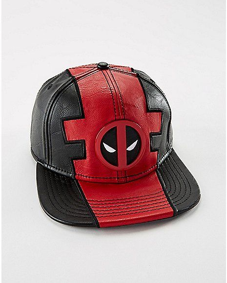 Deadpool Faux Leather Snapback Hat - Marvel Comics - Spencer s ... 935a063eb8a1