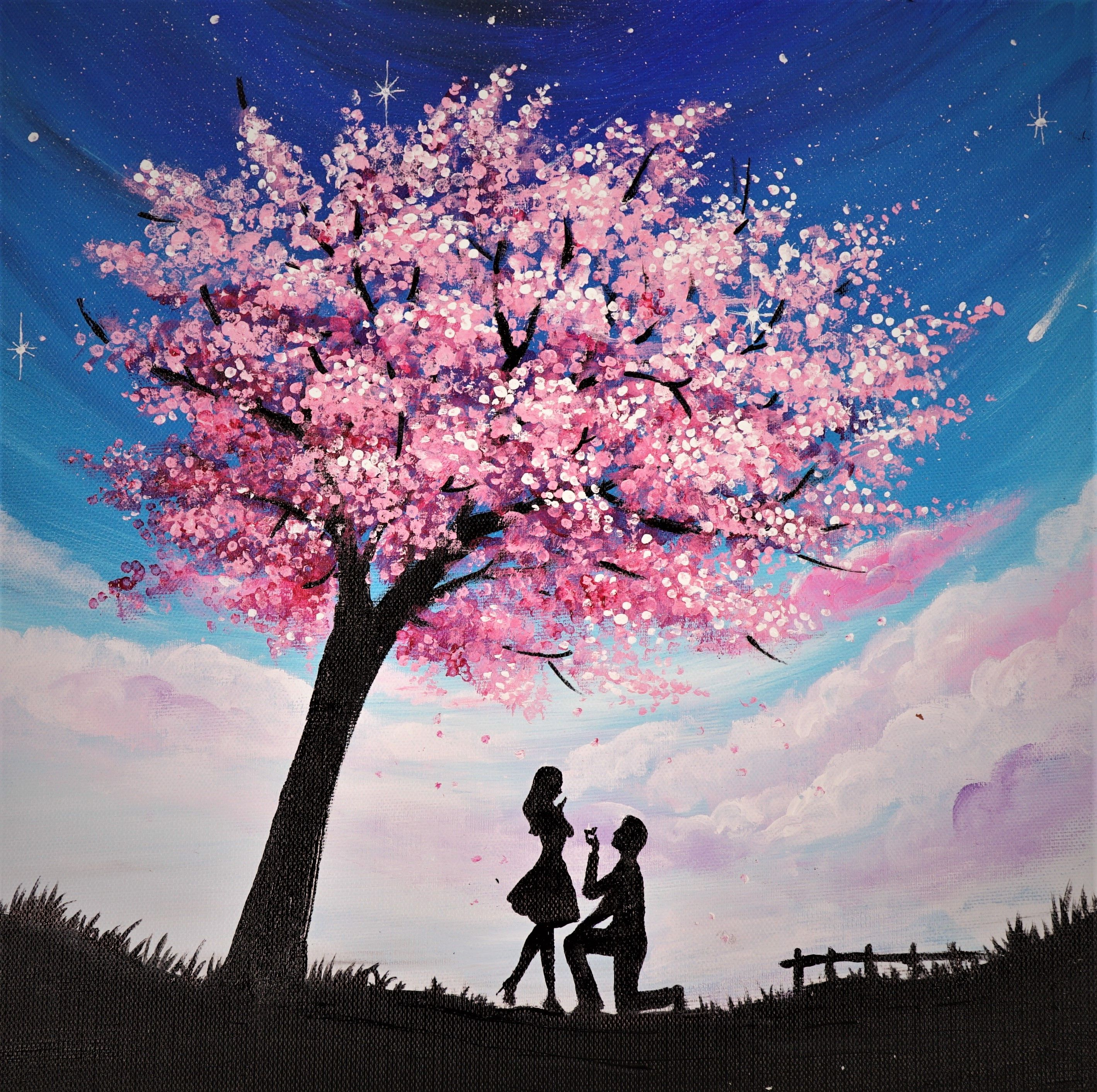 The Happiness Blossom Trees Canvas Art Painting Step By Step Painting