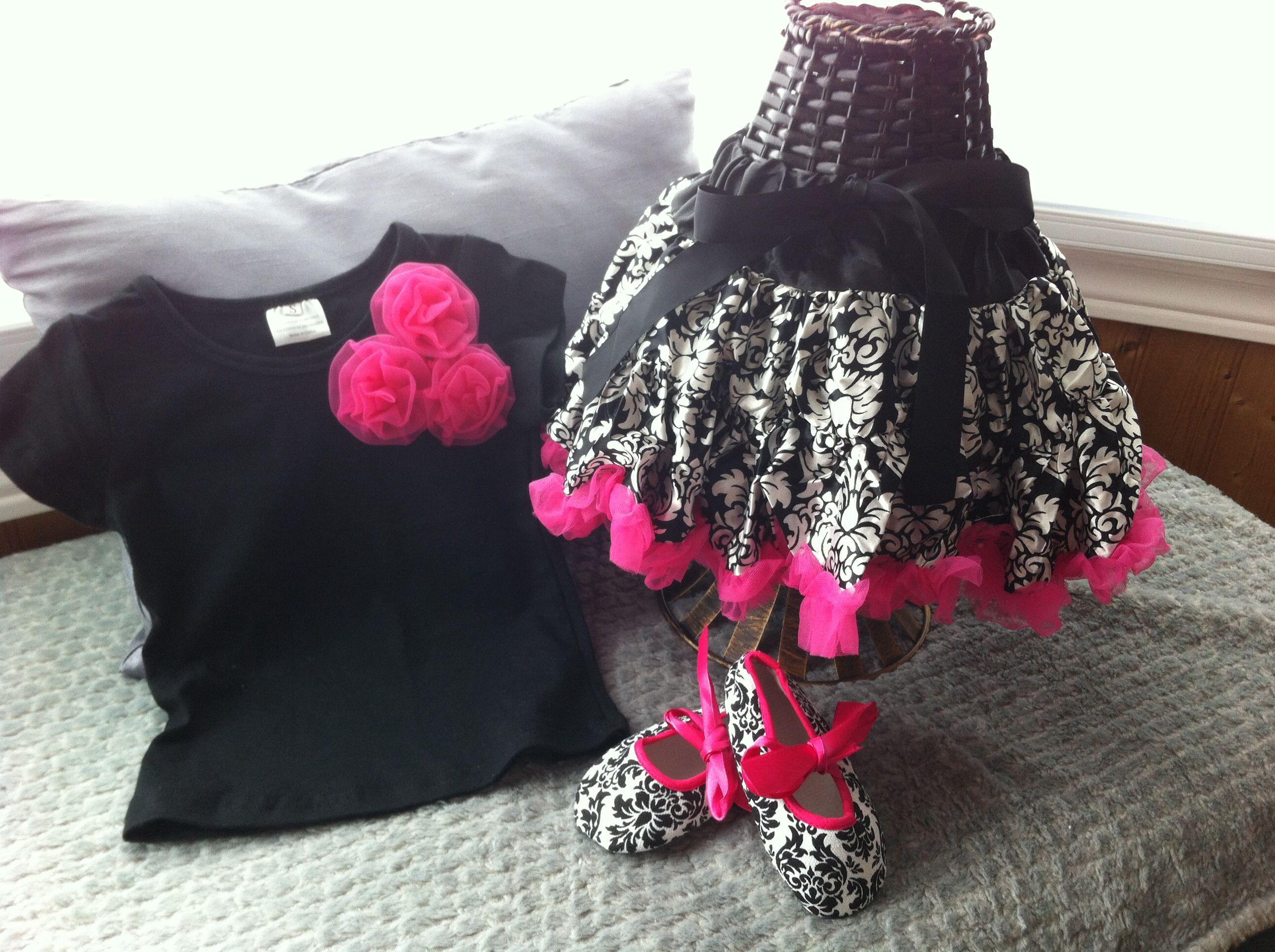 Damask Set. Gorgeous damask print set includes petti skirt, shirt & ballerina shoes. Visit my page at www.facebook.com/aprilshowersboutique6