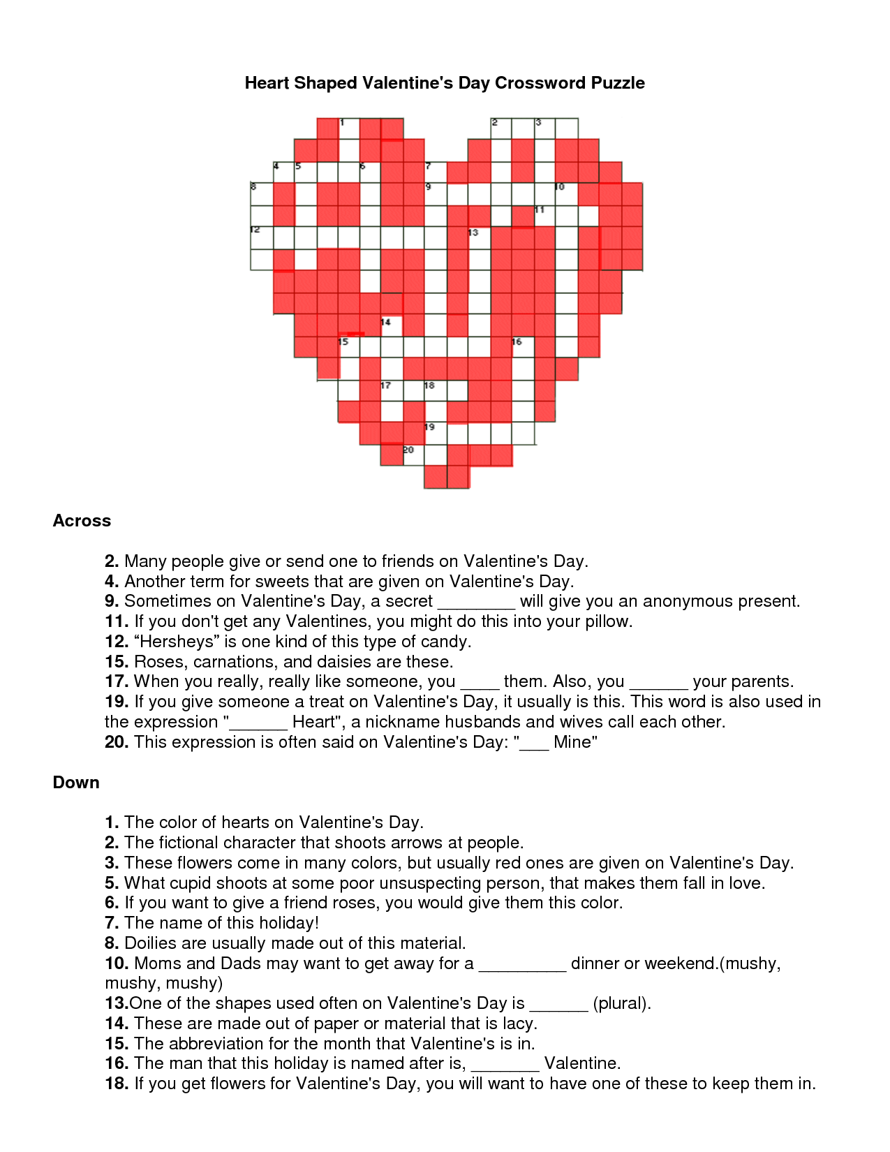 valentines day crossword puzzle