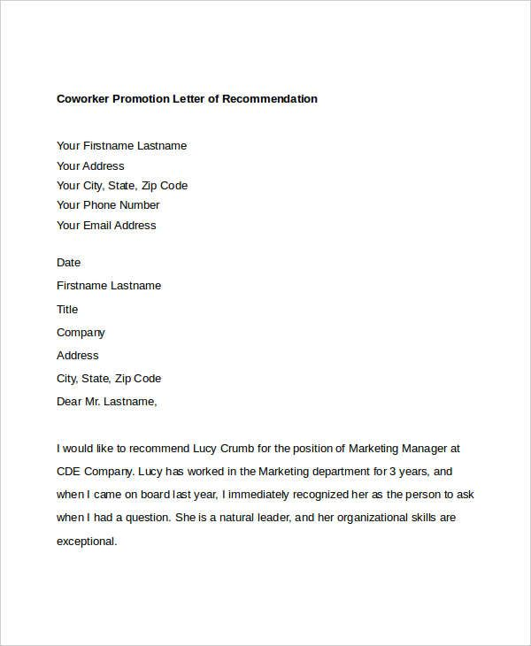 Letter Of Recommendation For Coworker Check more at