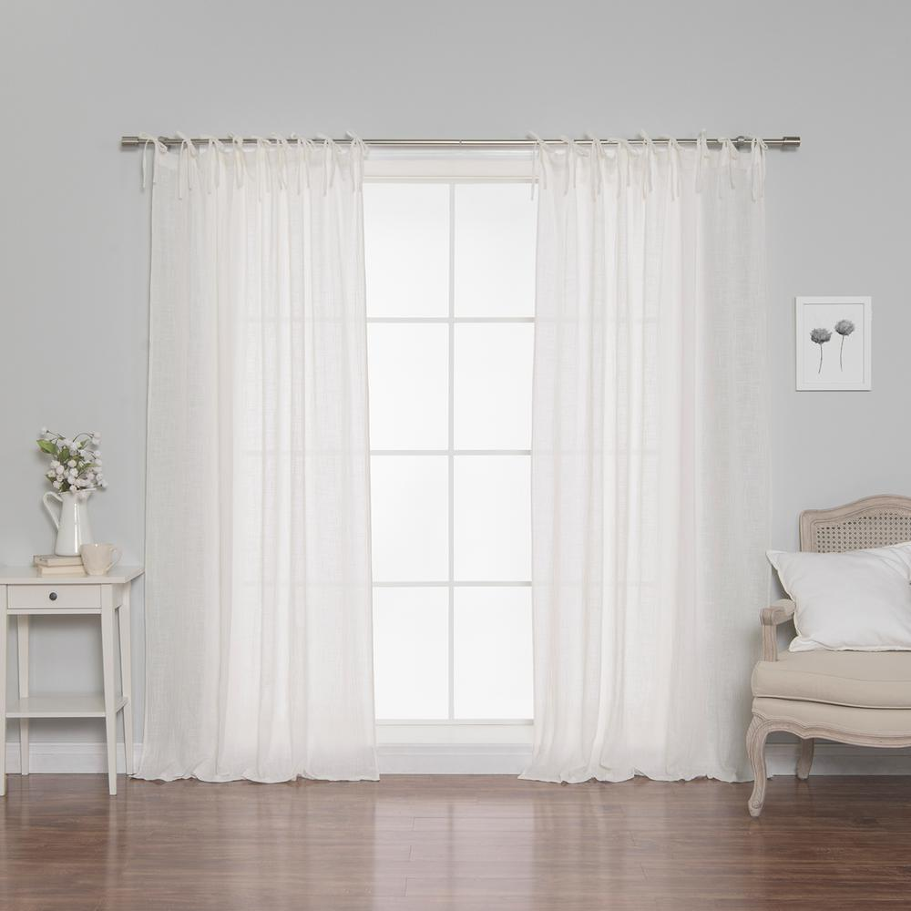 Best Home Fashion 84 In L Cotton Gauze Curtains In White 2 Pack