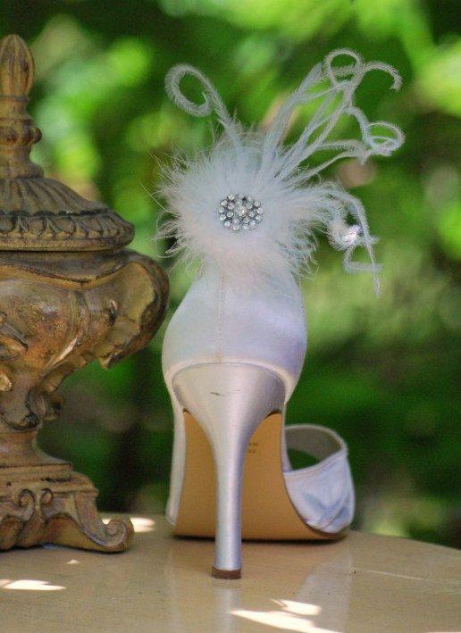 Shoe Clips White Feathers Puff & Rhinestone. Bride by sofisticata