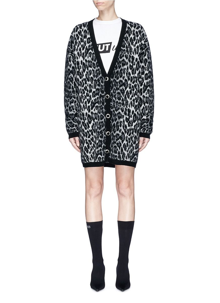 MAGDA BUTRYM 'Rochester' oversized leopard print wool-cashmere ...