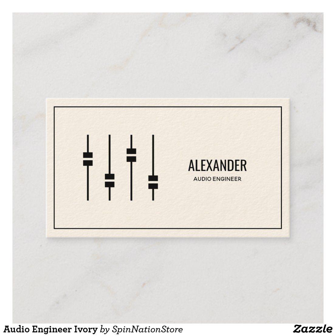 audio engineer ivory business card  zazzle  audio