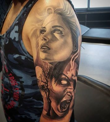 Two faces tattoo tattoo pinterest face tattoos for Two faced tattoo