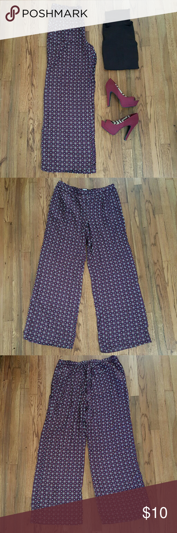 "NWOT MERONA Purple Blue Wide Leg Boho Pants Purple Blue Ivory Orange. Geometric Print. Pull On. Mid Rise. 2 Side Pockets. 100% Rayon.   Waist 16"" Rise 11.5"" Inseam 33""  New without tags.  Brand has been marked out on tag to prevent return. Merona Pants"