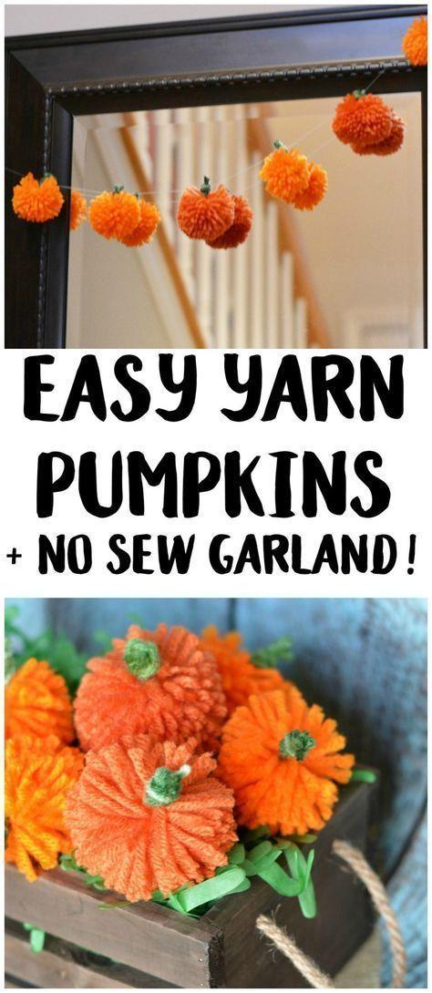 Easy DIY Yarn Pumpkins +No Sew Pumpkin Garland! ,  #DIY #easy #Garland #kidshalloweenpumpkins #PUMPKIN #pumpkins #Sew #Yarn