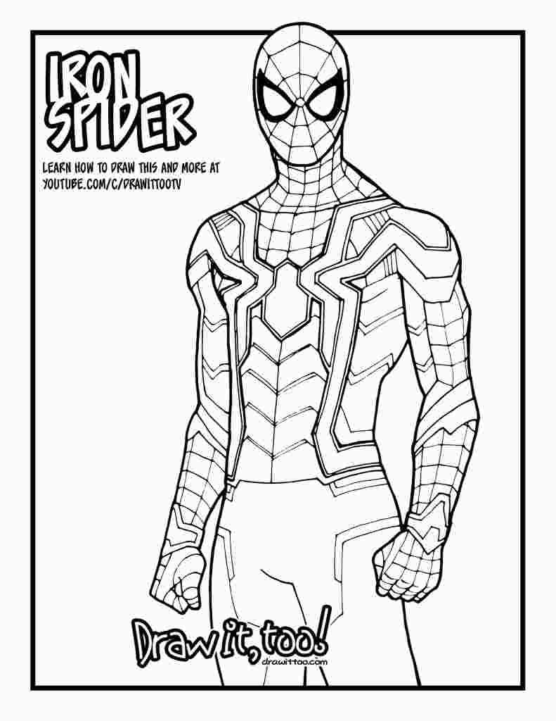 Iron Spider Suit Coloring Pages With Images Spiderman Coloring Spiderman Drawing Spider Drawing