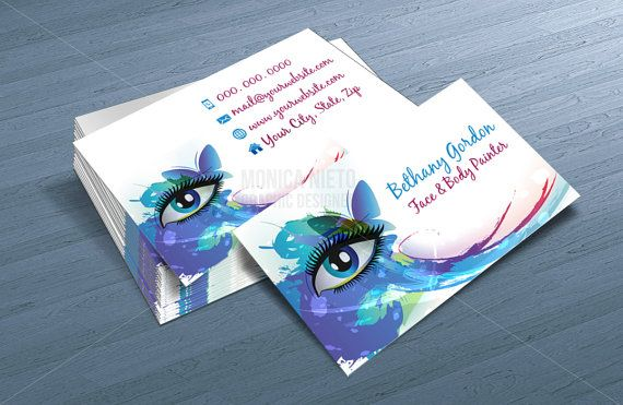 Custom Printable Face Painter Business Card Template/ Makeup Artist Business Cards