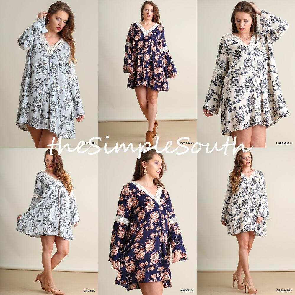 e1b23ed1cd32f5 New UMGEE Floral Bell Sleeve Crochet Lace V-Neck Peek-A-Boo Back Tunic Top  Dress  UMGEE  Tunic  Festive  Floral  PlusSize  Crochet  Lace  Southern   Boho   ...