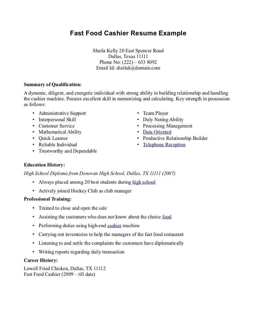 Cashier Description For Resume Resume For Fastfood  Fast Food Cashier Resume  Cvresumes And