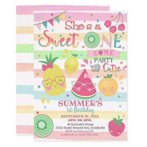 Tutti Frutti 1st Birthday Invitation