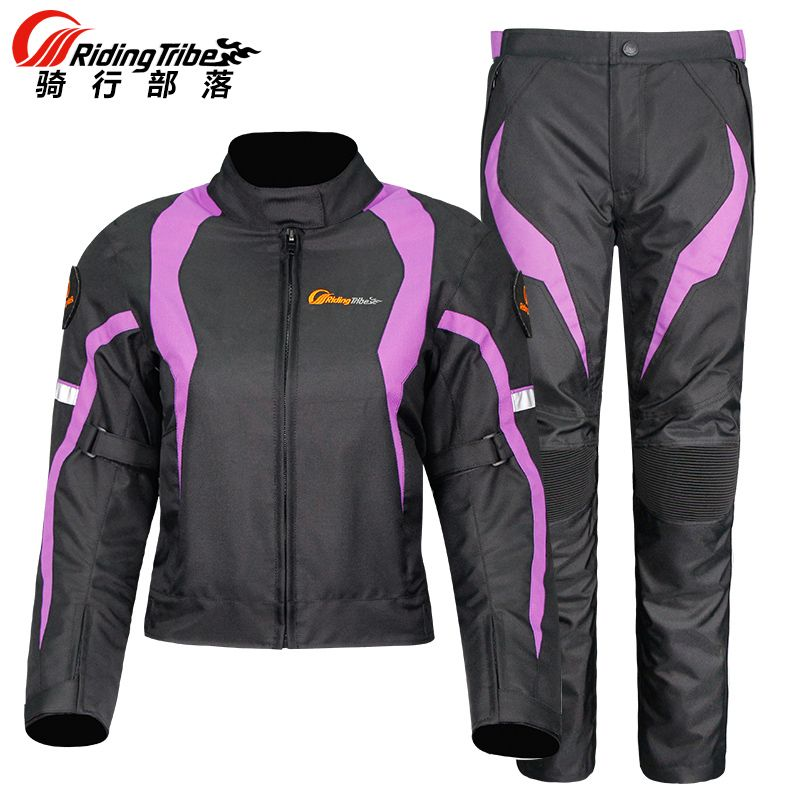 Women Motorcycle Jacket & Pants Suit Jacket Keep Warm In Winter Touring Motorbike Clothing Protective Gear, Riding Tribe JK-64