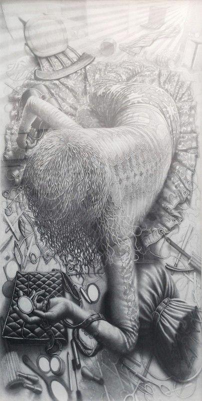 Davor Vrankic - The exit - 2014 - Graphite on paper - 200 x 100 cm - © Mazel Galerie