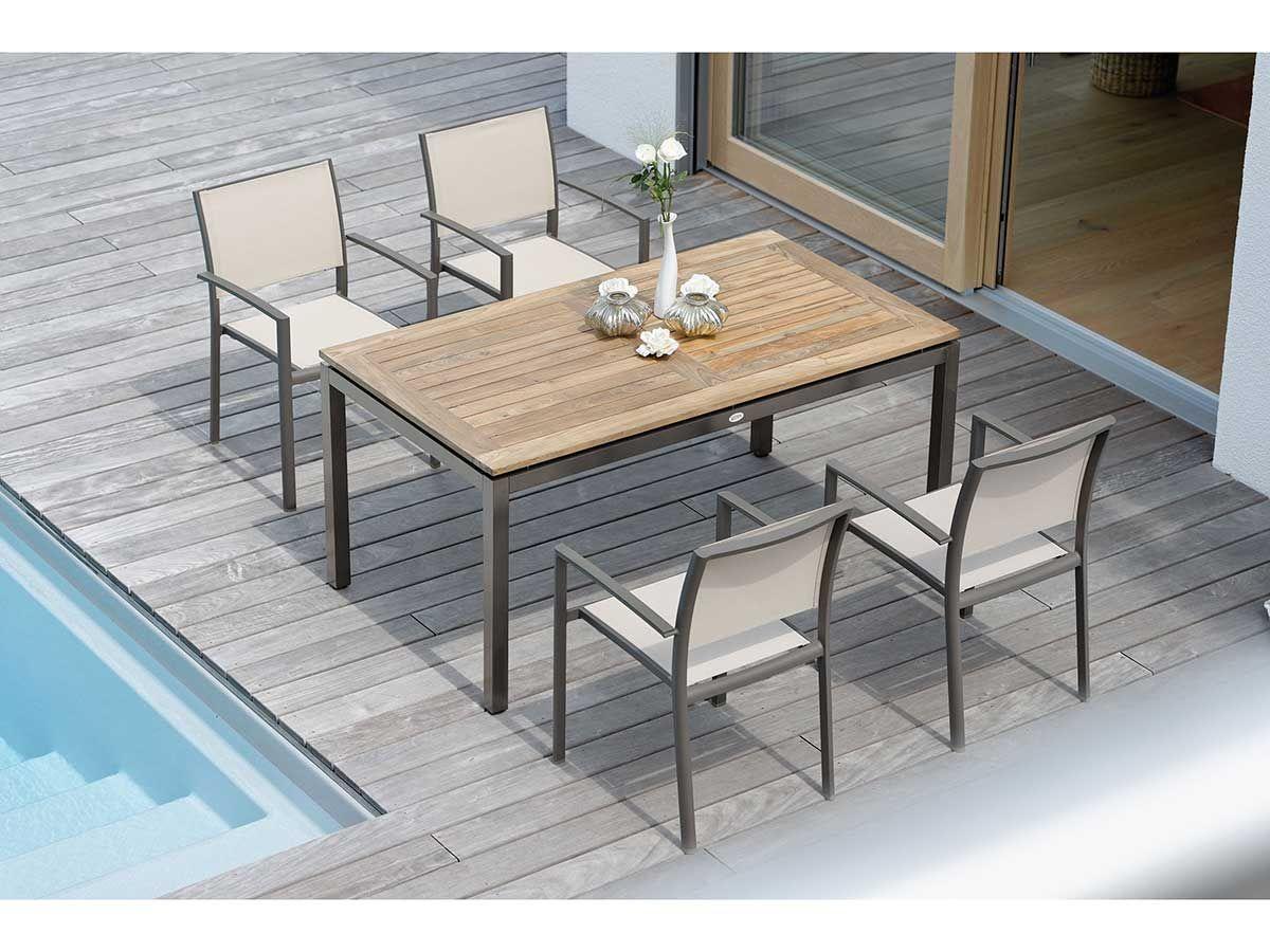 Stern Gartentisch Tischsystem Aluminium Taupe Old Teak 160x90 Cm Kaufen Im Borono Online Shop Gartenmobel Sets Gartenmobel Teak