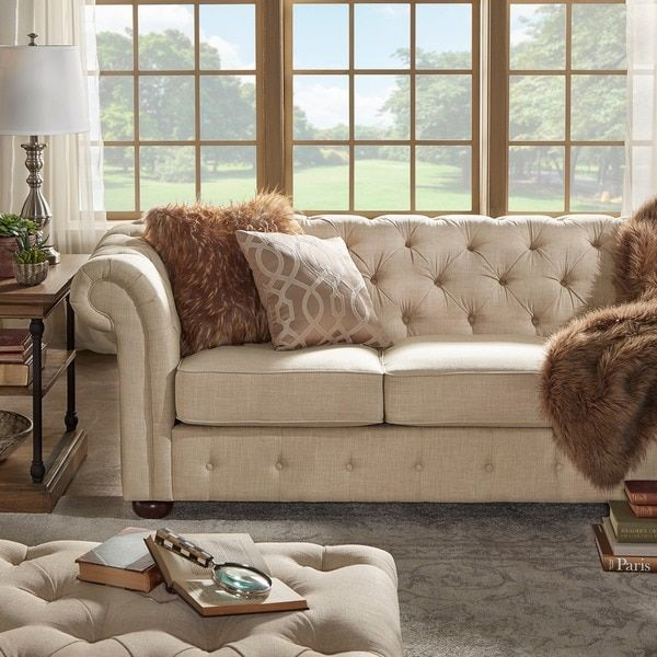 Knightsbridge Beige Linen Fabric Button Tufted Scroll Arm Chesterfield Sofa  By SIGNAL HILLS | Overstock.com Shopping   The Best Deals On Sofas U0026  Loveseats