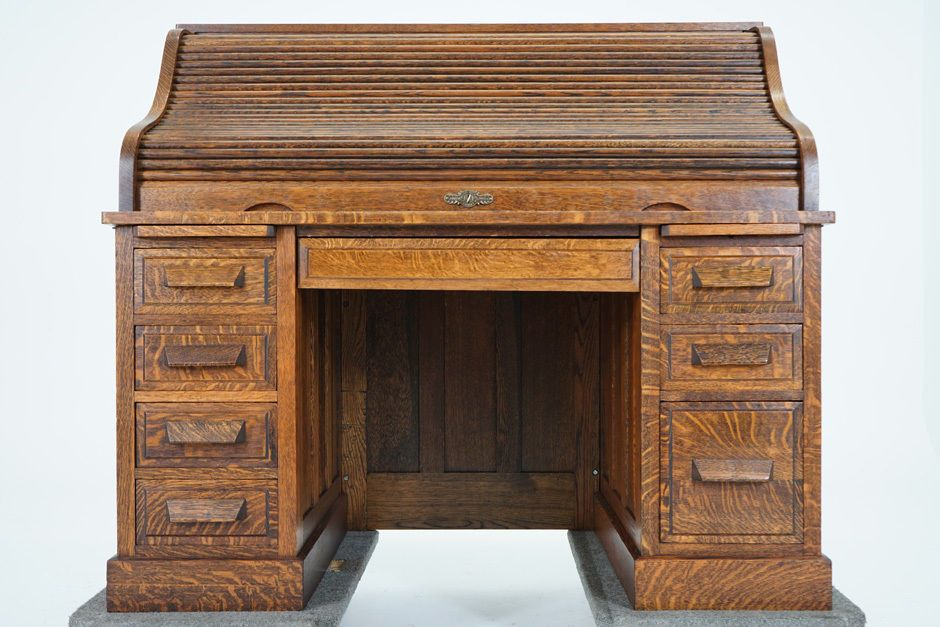 C2630 Antique Canadian Quarter Sawn Oak Roll Top Desk | eBay - C2630 Antique Canadian Quarter Sawn Oak Roll Top Desk EBay