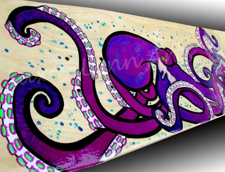 Violet Temper - Purple Octopus Skateboard Painting