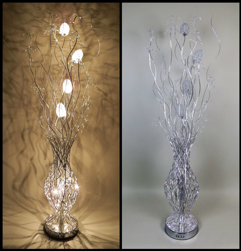 Fashionable modern luxury table lamps and floor lamps available enchanted silver woven wire floor standing lamp with clear crystal berries greentooth