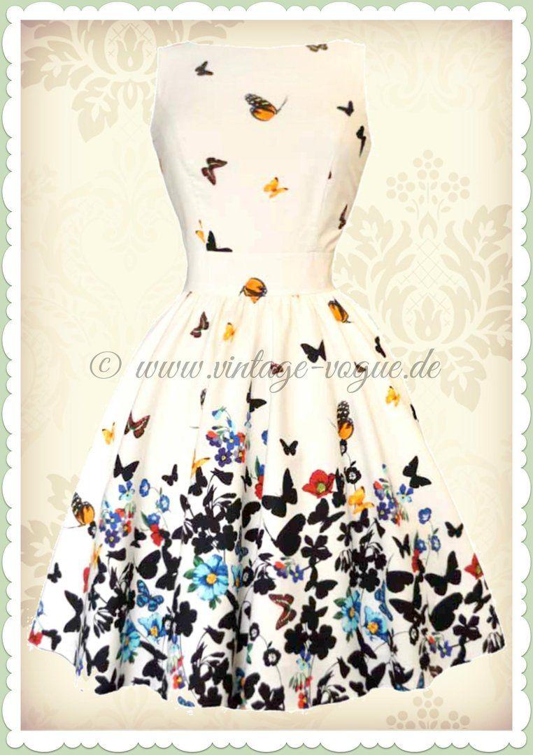 Lady Vintage 40er Jahre Vintage Schmetterlinge Kleid - Butterfly ...