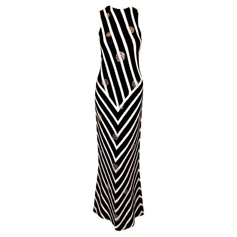 Adolfo Black & White Stripe Long Knit Gown w/ Rhinestone Circles