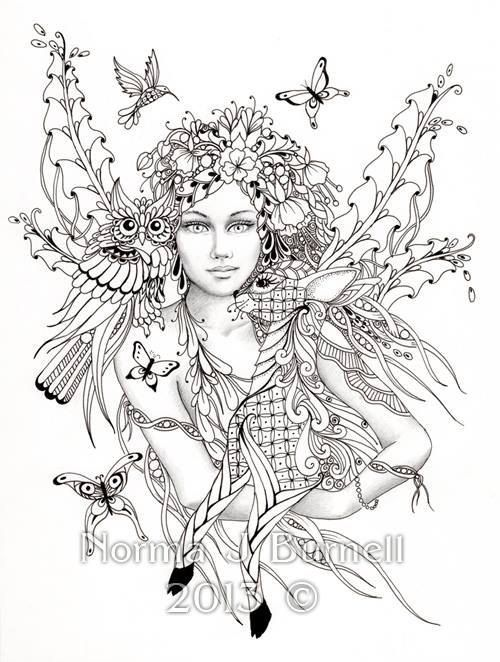 Fairy of the Forest - Fairy Tangles Coloring Sheet Fairies Owls ...