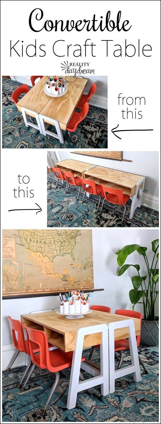 Convertible Kids Craft Table Tutorial  FREE building plans! is part of DIY Kids Crafts Wood - Learn how to build this darling modern kids craft table that extends out to be twice as long with a hinge! Love the white and natural wood tones!