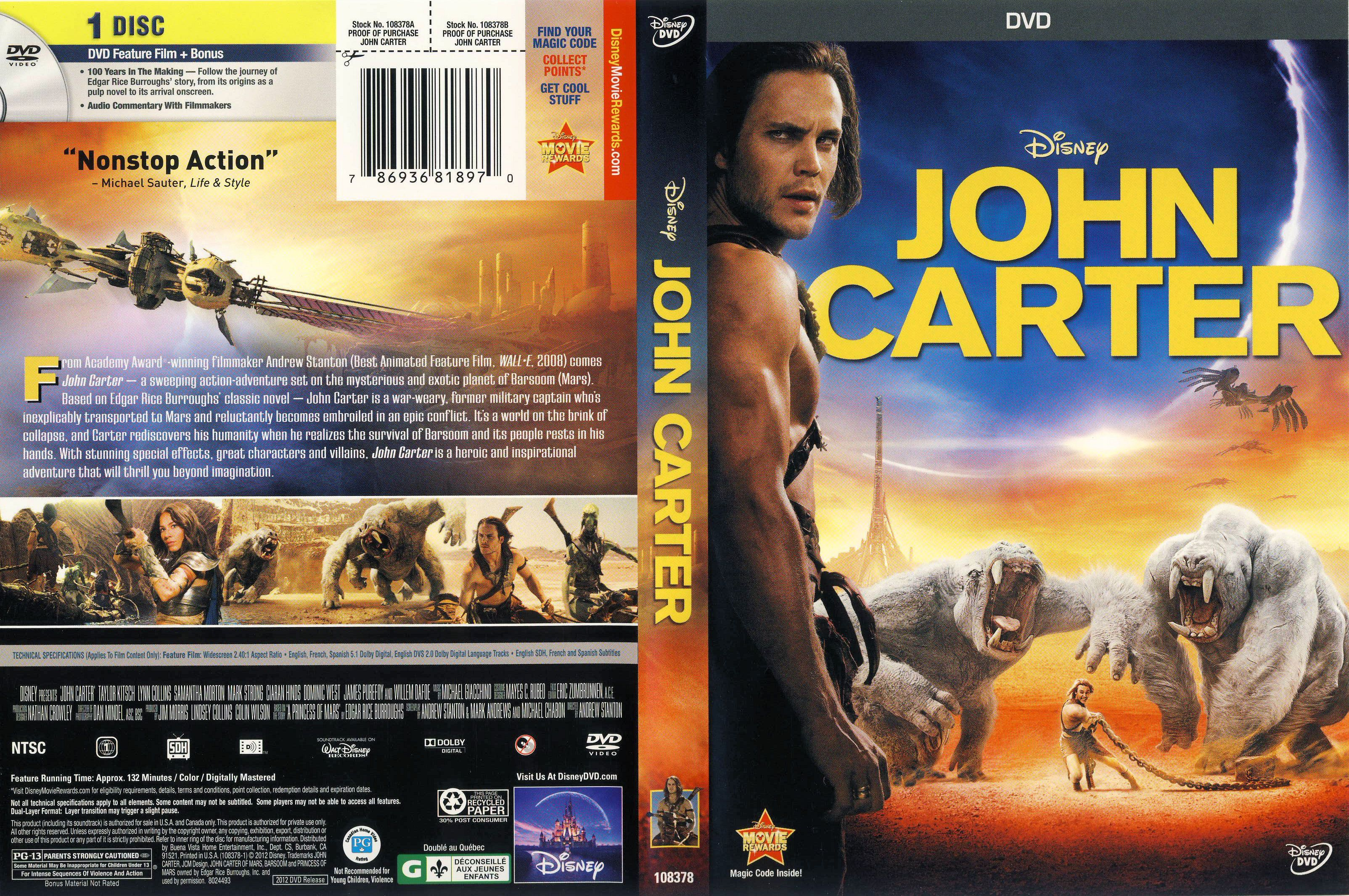 movies on dvd | john carter 2012 ws r1 movie dvd front dvd ...
