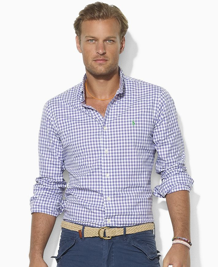 Polo Ralph Lauren Shirt, Custom-Fit Checked Broadcloth Shirt - Casual  Button-Down Shirts - Men - Macy's