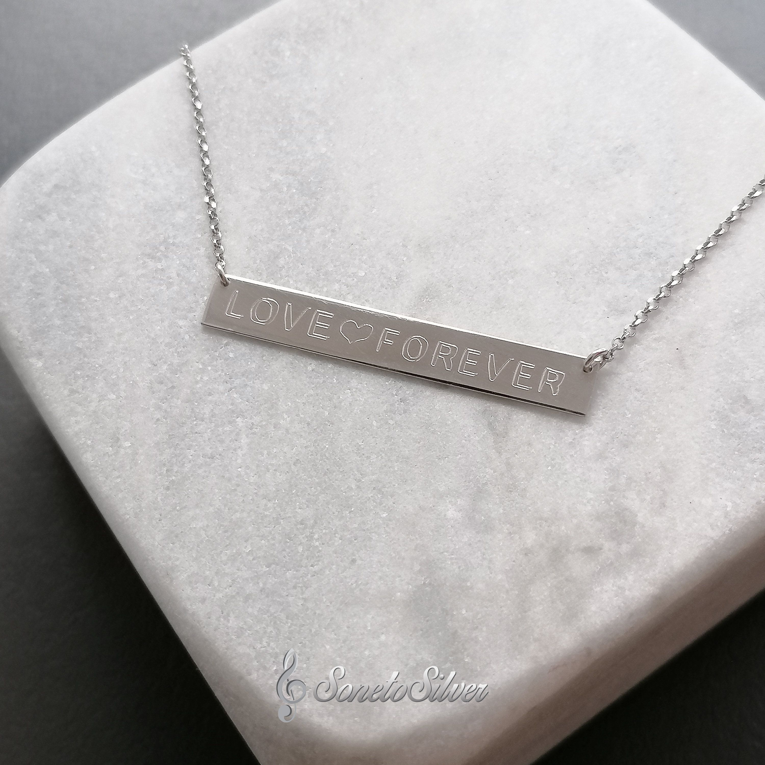 Personalized Bar Nameplate Necklace, Custom Name Necklace Silver Sterling Gold plated Rose Yellow White, Dainty Necklaces for her