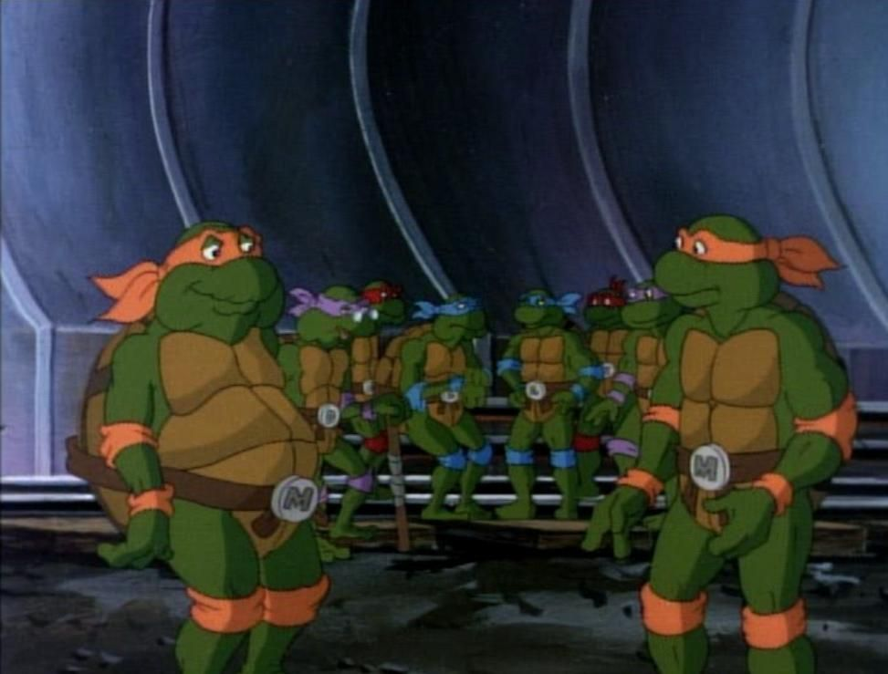 Raphael, Leonardo, Donatello & Michaelangelo with their future old selves.