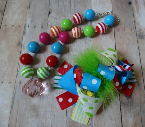 Girls Chunky Necklace Bubblegum Chunky by papillonroseboutique, $8.50