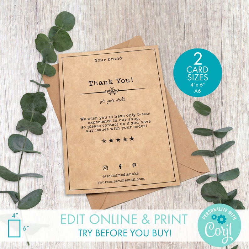Printable Business Order Insert Template 4 X 6 Etsy Thank You Card Design Business Thank You Notes Square Business Cards