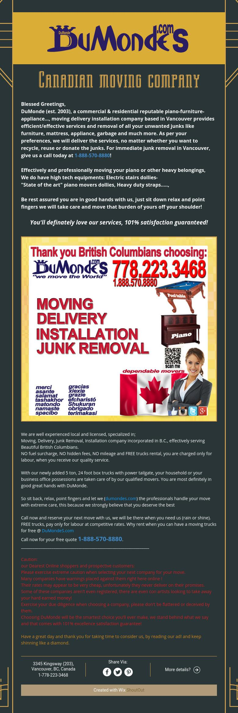 Canadian Prof. moving company