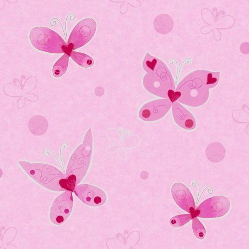Infantil chicas rosa plata mariposas mariposa papel for Papel pintado mariposas