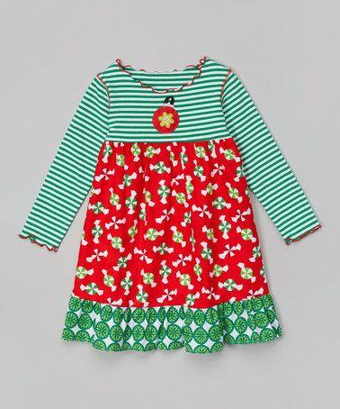 Another great find on #zulily! Green Christmas Candy Ruffle Dress - Toddler & Girls #zulilyfinds