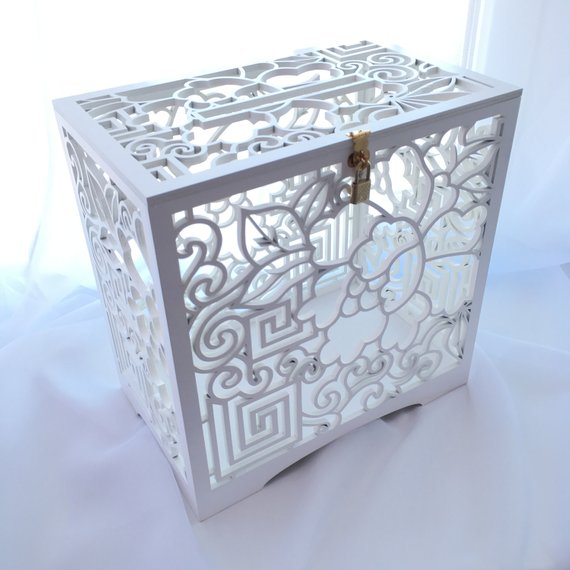 Fall Wedding Card Holder Ideas: TD_LargeBox Whish Well Box Wedding Card Box With Slot